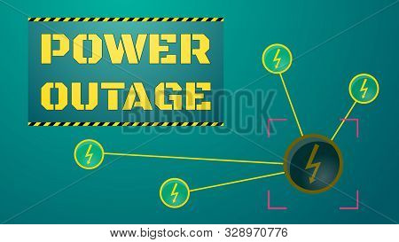 Power Outage Concept. Blackout Illustration. Yellow Words In Rectangle Block. Network Of Power Stati