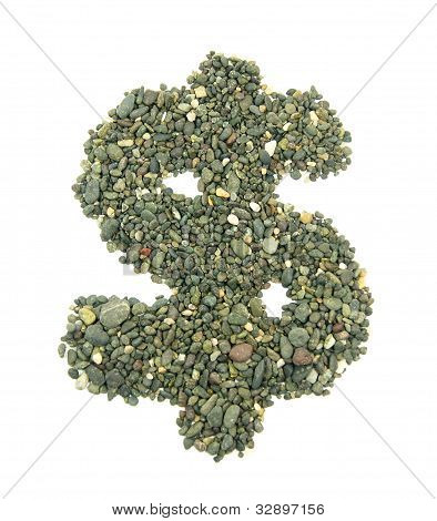 collection of stones forming the symbol of money