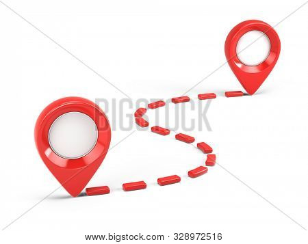 Two Red glossy map pointers and path - 3d location icons isolated on white. 3d rendering