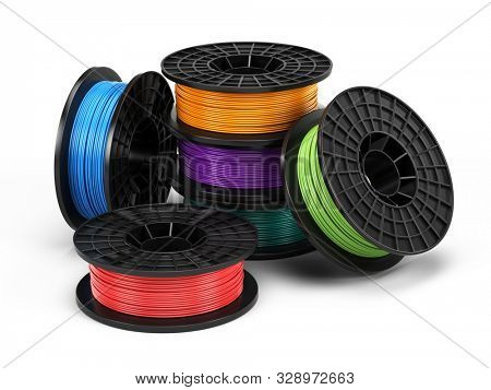 3d printing filament spool isolated on white background. Material for 3d printer. 3d illustration