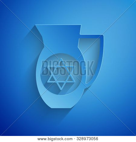 Paper Cut Decanter With Star Of David Icon Isolated On Blue Background. Pottery Jug. Organic Product