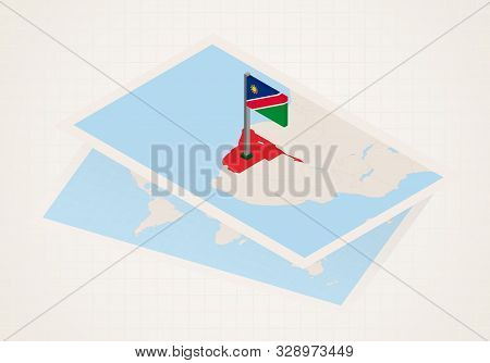 Namibia Selected On Map With 3d Flag Of Namibia. Vector Paper Map.