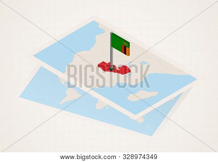 Zambia Selected On Map With 3d Flag Of Zambia. Vector Paper Map.