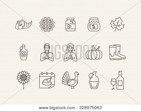 Thanksgiving Day Line Icon Set With People, Wine And Pumpkin. Turkey Cock, Cornucopia, Pie, Praying
