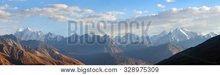 Evening View Of Hindukush Or Hindu Kush Mountain Ridge, Tahikistan And Afghanistan, Wakhan Corridor,