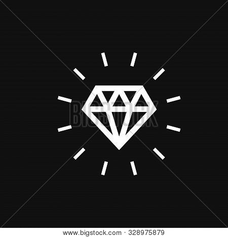 Diamond Icon. Diamond Icon Vector Flat Illustration For Graphic And Web Design Isolated On Black Bac