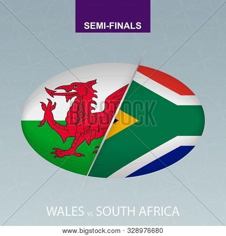 Rugby Competition Wales Vs South Africa. Rugby Icon On Gray Background. Vector Illustration.