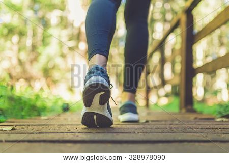 Close Up Of Female Legs With Running Shoes On Wooden Footpath In Woods. Nature And Sport Healthy Lif