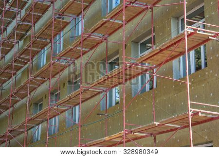 Construction Of External Wall Thermal Insulation With Rock Wool. Exterior Passive House Wall Heat In