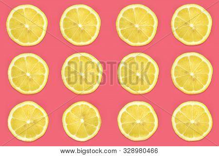 Pattern Of Citrus Fruits.fresh Organic Slice Ripe Lemon And Lime Or Lemonade On Pastel Pink Backgrou