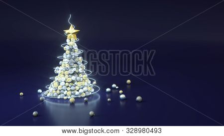 Christmas Tree Made Of Balls On Blue Background With Copy Space. 3d Rendering Illustration. Silver,