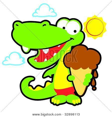 Vector Gator with Ice Cream Cone