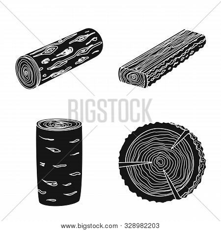 Vector Design Of Hardwood And Construction Sign. Set Of Hardwood And Wood Stock Symbol For Web.