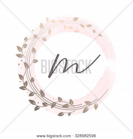 Floral Wreath On Watercolour Background. Feminine Logo Template For Beautiful Brand