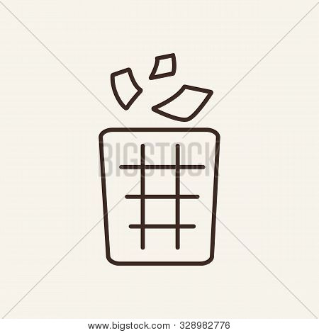 Wastebasket Line Icon. Paper, Dustbin, Wastebasket. Public Services Concept. Vector Illustration Can
