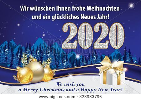 Blue And Silver Greeting Card For The New Year 2020 Celebration With German Text. Text Translation:
