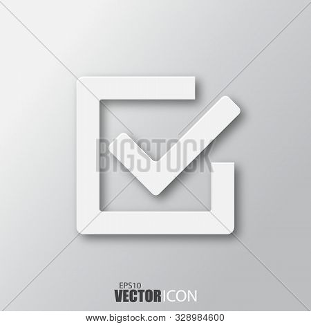 Checkmark Icon In White Style With Shadow Isolated On Grey Background.