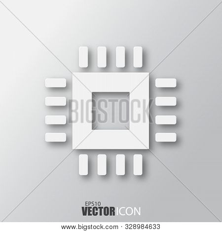 Computer Chip Icon In White Style With Shadow Isolated On Grey Background.