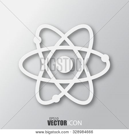 Atom Icon In White Style With Shadow Isolated On Grey Background.