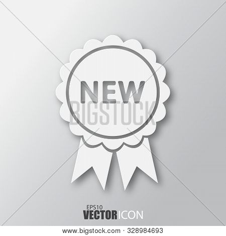 New Icon In White Style With Shadow Isolated On Grey Background.