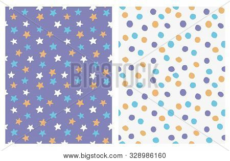 Cute Seamless Vector Patterns With Irregular Hand Drawn Stars And Dots. Yellow, Violet And Blue Dots