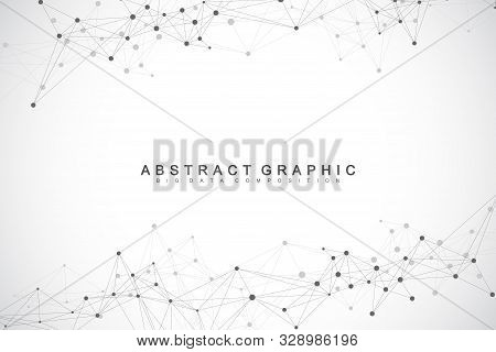 Geometric Abstract Background With Connected Lines And Dots. Network And Connection Background. Mole