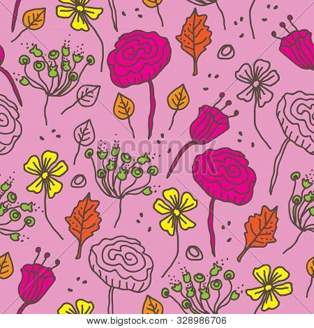Naive Flowers-flowers In Bloom Seamless Repeat Pattern In Pink , Orange, Yellow, Brown, Green. Vivid