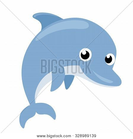 Illustration Of A Cute Dolphin Flat Icon On A White Background