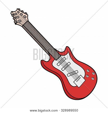 Illustration Of A Red Electric Guitar On A White Background