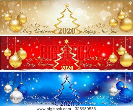 Three Horizontal Banners Set Designed For Web, For Christmas And New Year 2020.