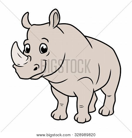Illustration Of A Cute Smiling Rhinoceros On A White Background