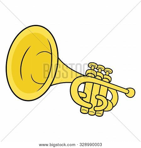 Illustration Of A Yellow Brass Trumpet On A White Background