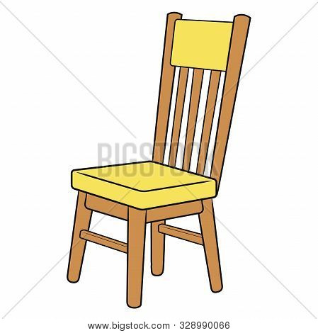 Illustration Of A Yellow Wooden Chair On A White Background