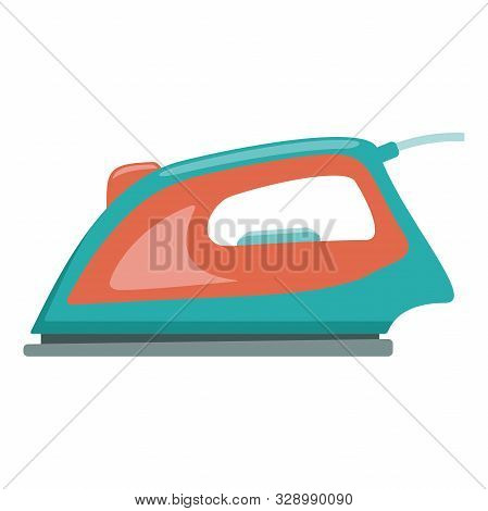 Illustration Of An Electric Iron Flat Icon On A White Background