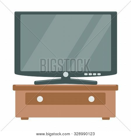 Illustration Of Lcd Tv Flat Icon On A White Background