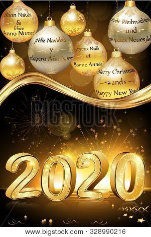 Merry Christmas And Happy New Year 2020 Written In Many Languages English, French, Spanish, German,