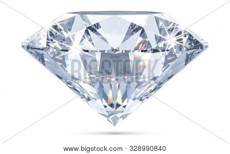 Sparkling Light Round Brilliant Cut Diamond With Shadow And Glowing Lens Flares. 3d Rendering Illust