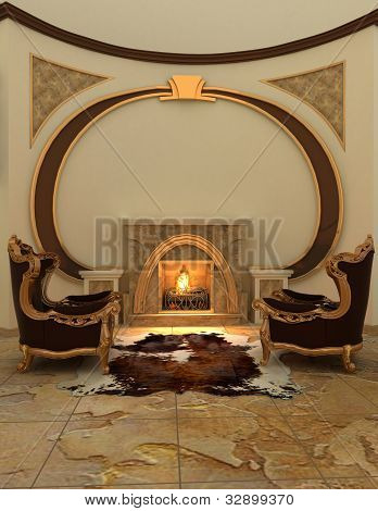Armchairs near fireplace in modern interior. Warm poster