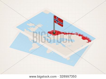 Norway Selected On Map With Isometric Flag Of Norway. Vector Paper Map.