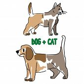 Childish cat and dog animal splice vector illustration. Hand drawn doodle inked pet creature mixture, trendy feline and canine monster clipart. poster