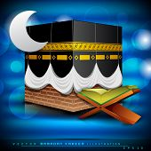 Beautiful Qaaba Sharif of Qaba with holy book Quran and moon on modern abstract blue background. EPS 10. Vector illustration. poster