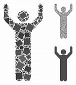 Hands up pose mosaic of unequal items in variable sizes and color hues, based on hands up pose icon. Vector rough items are combined into collage. Hands up pose icons collage with dotted pattern. poster
