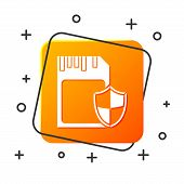 White SD card and shield icon isolated on white background. Memory card. Adapter icon. Security, safety, protection, privacy concept. Orange square button. Vector Illustration poster