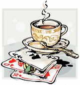 Cup of Coffee and Playing Cards_Black. Vector illustration with scalable size. poster