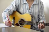 Guitarist musician writing a song on his guitar poster