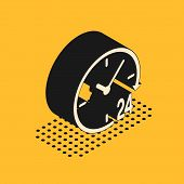 Isometric Clock 24 hours icon isolated on yellow background. All day cyclic icon. 24 hours service symbol. Vector Illustration poster