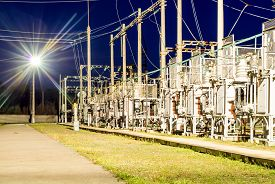 High-voltage Electrical Substation At Night