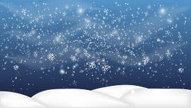 Christmas, Snowy Woodland Landscape. Holiday Winter Landscape For Merry Christmas. Winter Background
