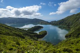 View Of Lagoa Do Fogo Or Lake Of Fire In Sao Miguel, Azores, Portugal