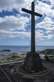 View Of The Cross And Vila Franca Do Campo From Nossa Senhora Da Paz, Sao Miguel, Azores